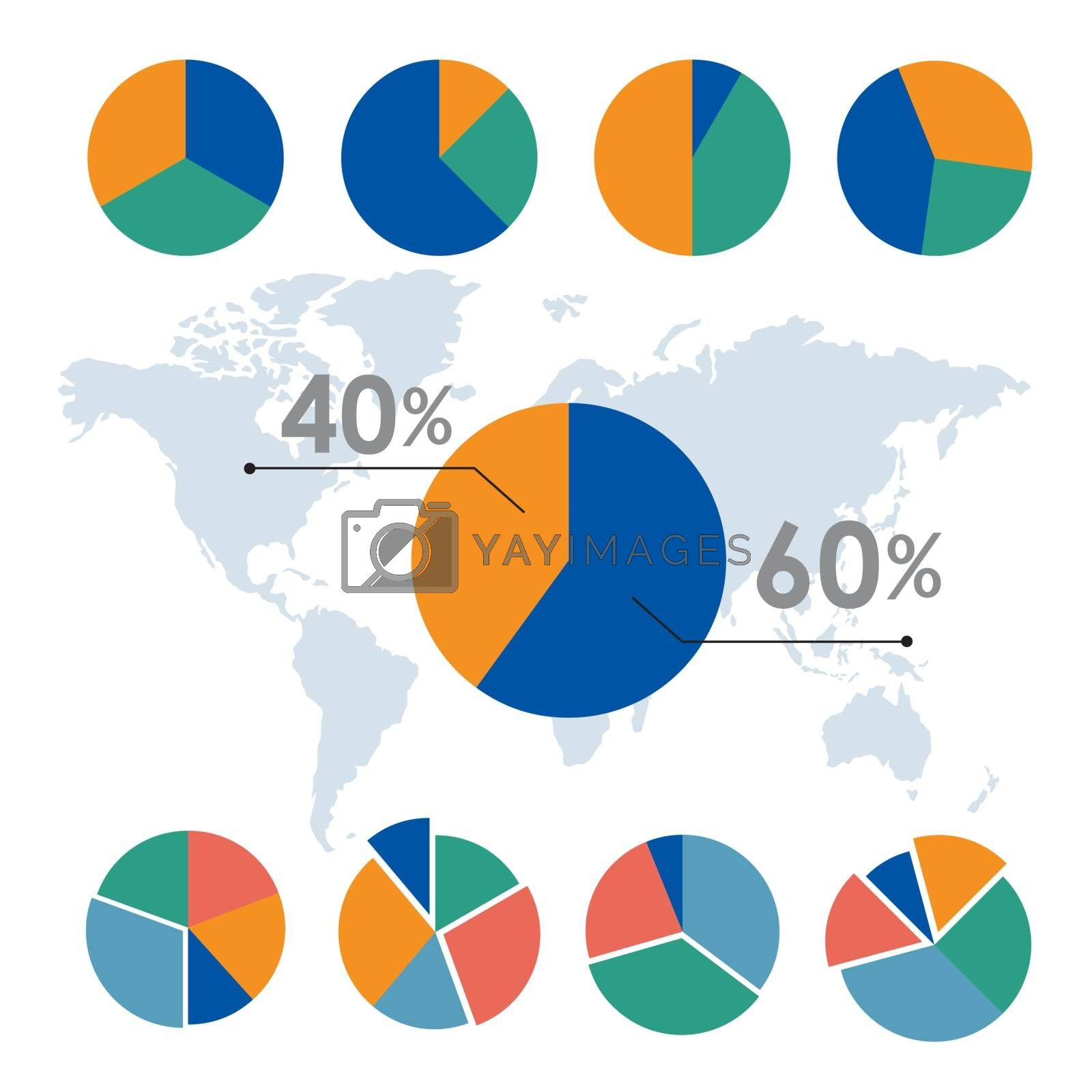 Business data chart and diagram for your documents, reports, presentations and infographic design Vector.