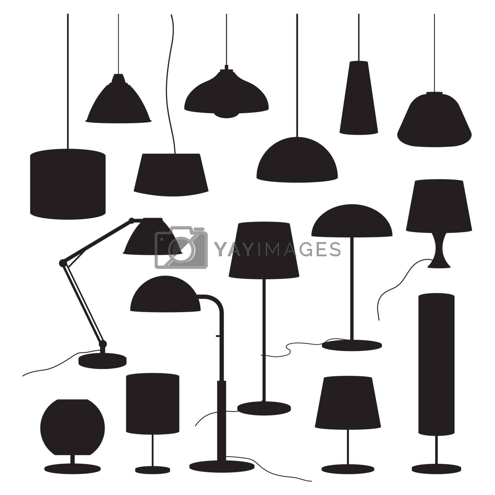 Set of lamps and Furniture floor lamp Vector illustration.