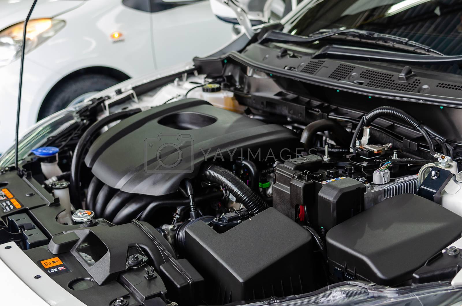 New modern detailing car engine.