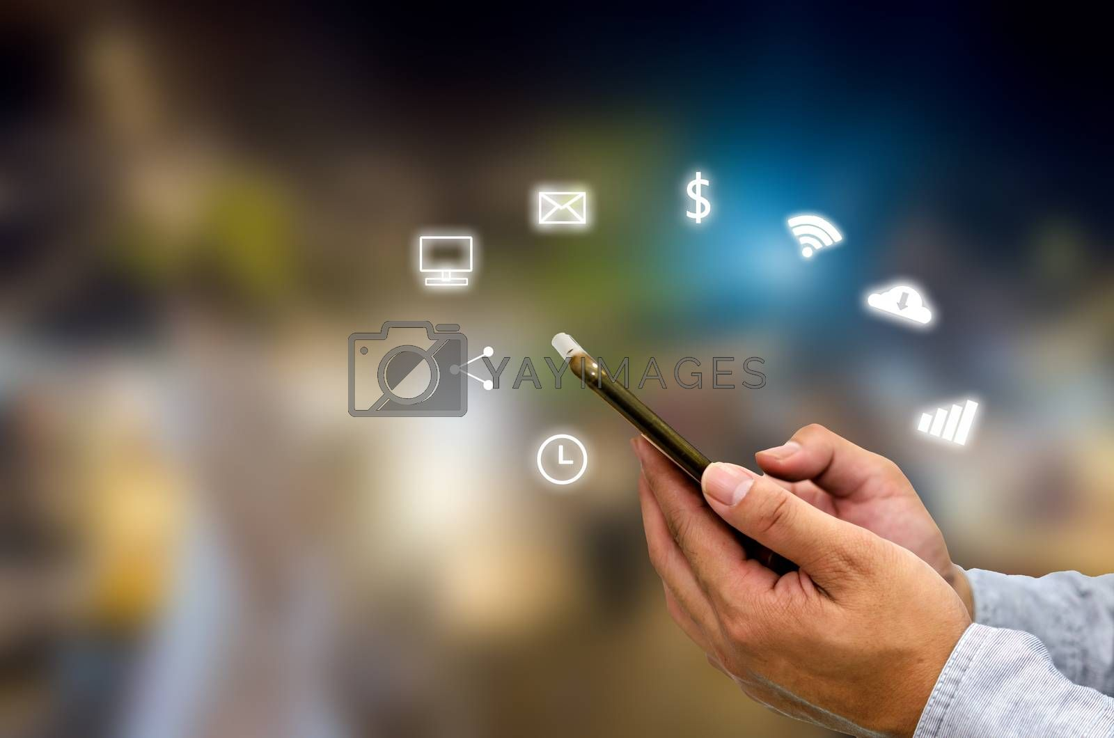 Hand holding smartphone with icons concept. Hand use smartphone online shopping Social network concept.Network Communications, E-Commerce business.