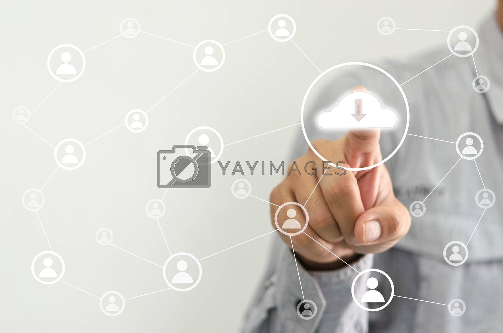 hand touching digital icon on touch screen.Network concept database.Internet and technology business.Administrative structure and human resource management