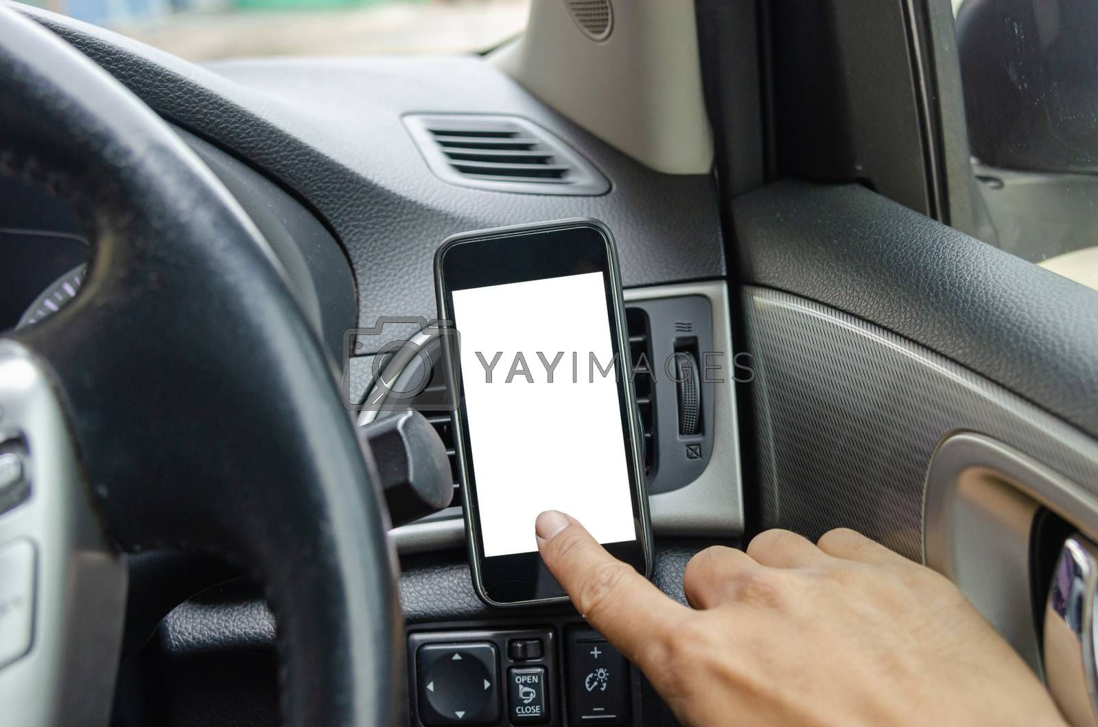 Man hand touch screen telephone in the car.Smartphone blank insert advertising or public relations. Clipping path smartphone screen