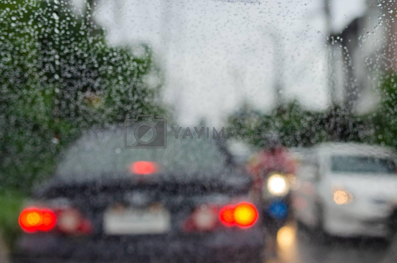 Blur background raindrops traffic jam