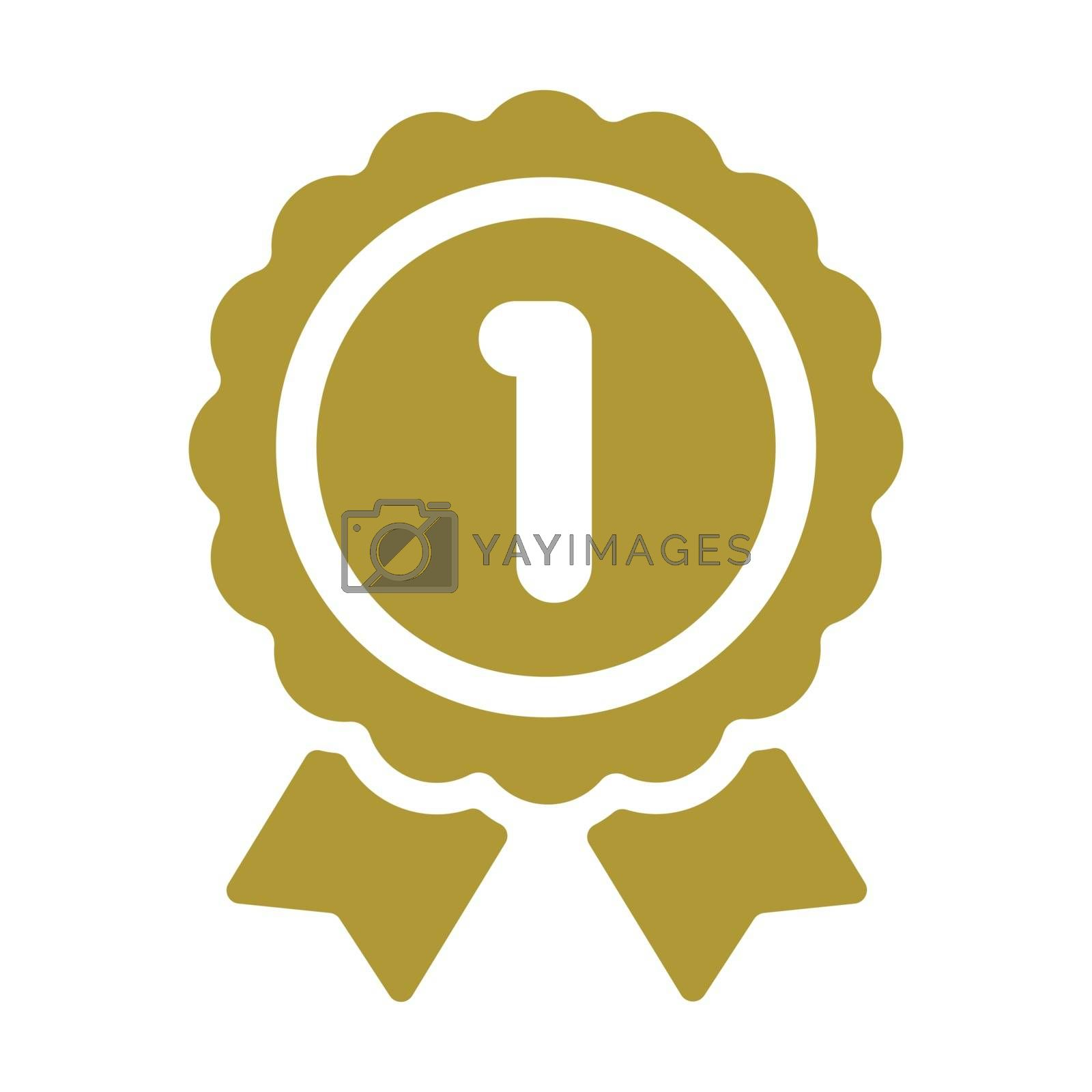 ranking medal icon illustration. 1st place (gold ).