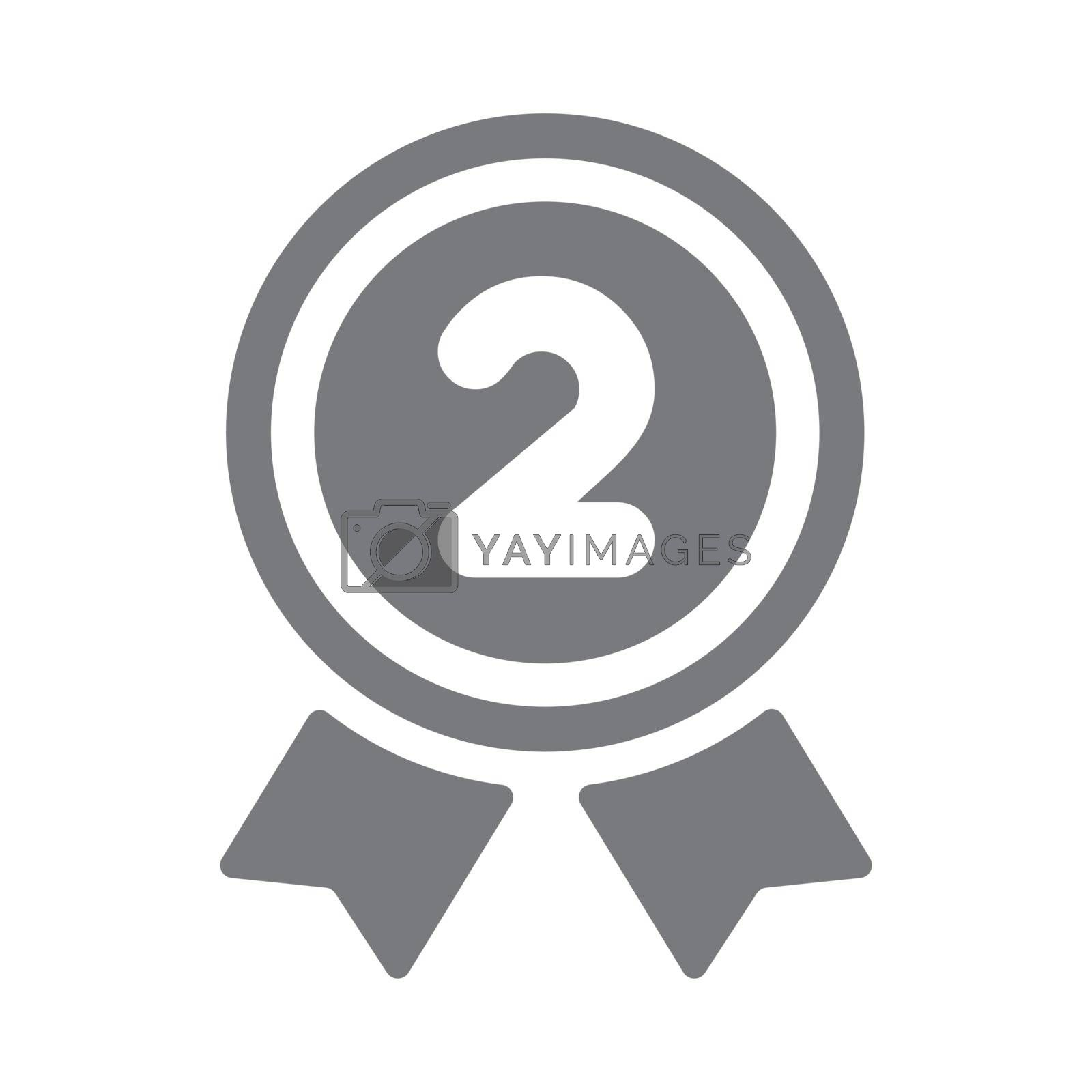 ranking medal icon illustration. 2nd place (silver). by barks