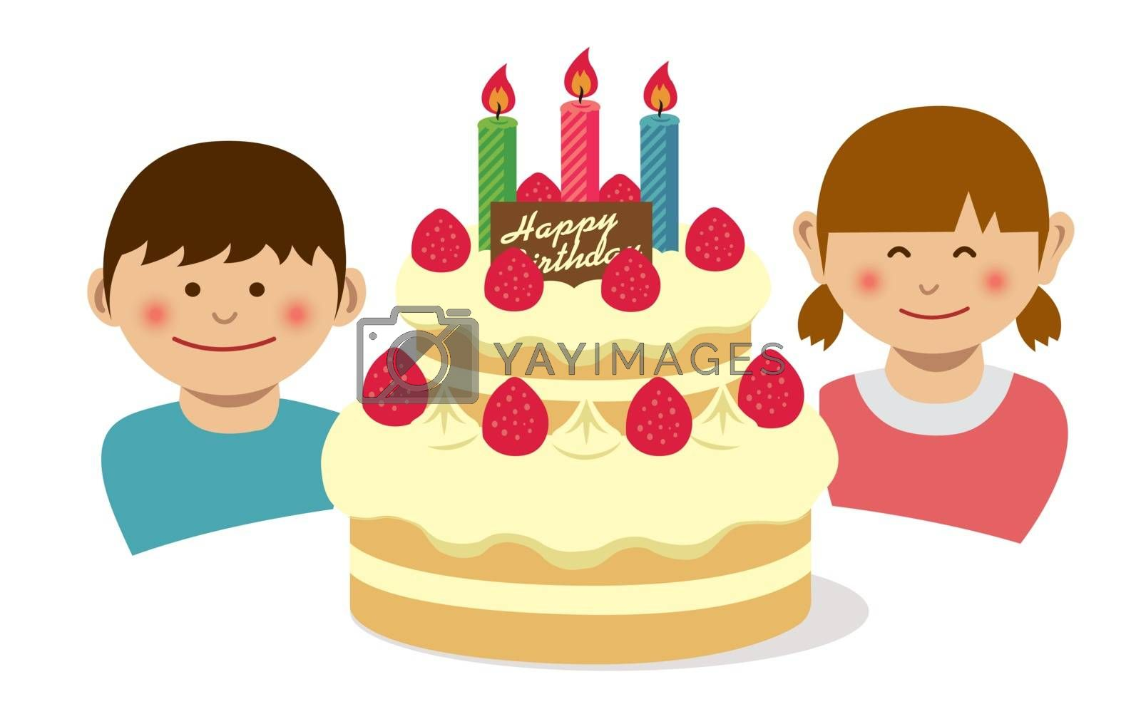 Happy birthday.Birthday cake and kids illustration. by barks
