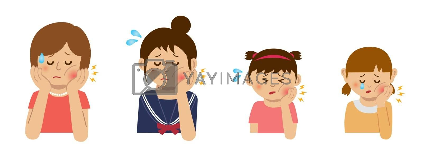 Women with toothache illustration set