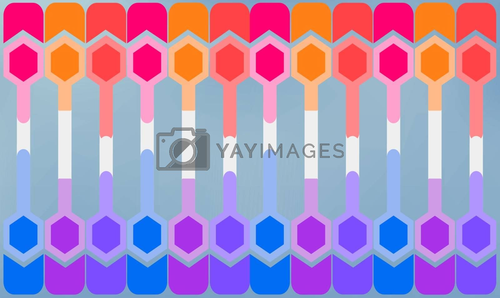 digital textile design of hexagon art on abstract background