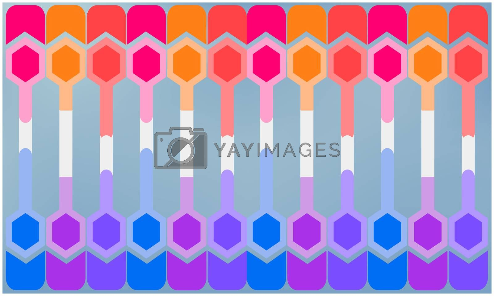 digital textile design of hexagon art on abstract backgrounds