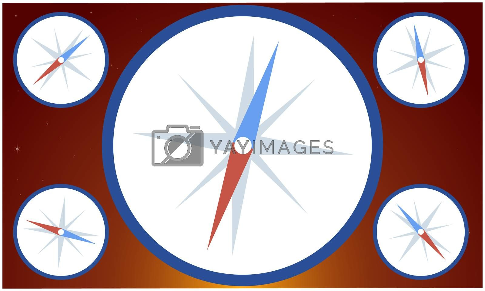 digital textile design of compass on abstract backgrounds