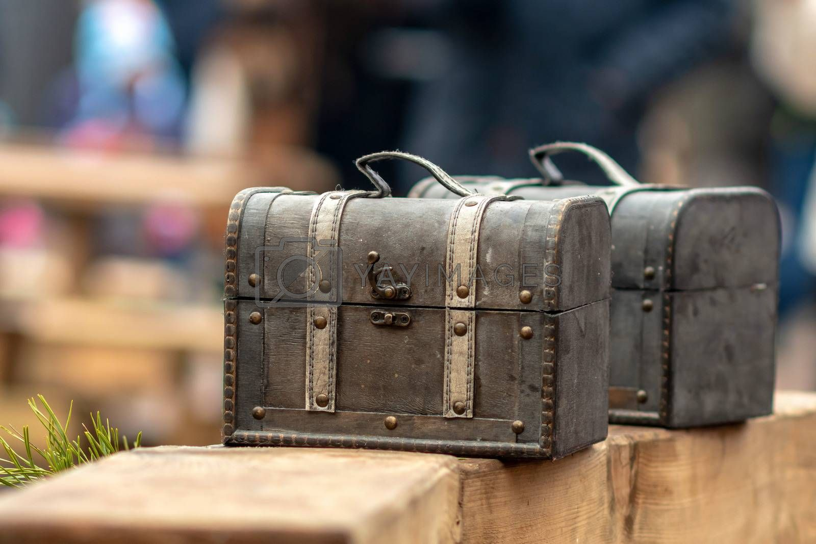 Ancient travel chests in the street craft market.