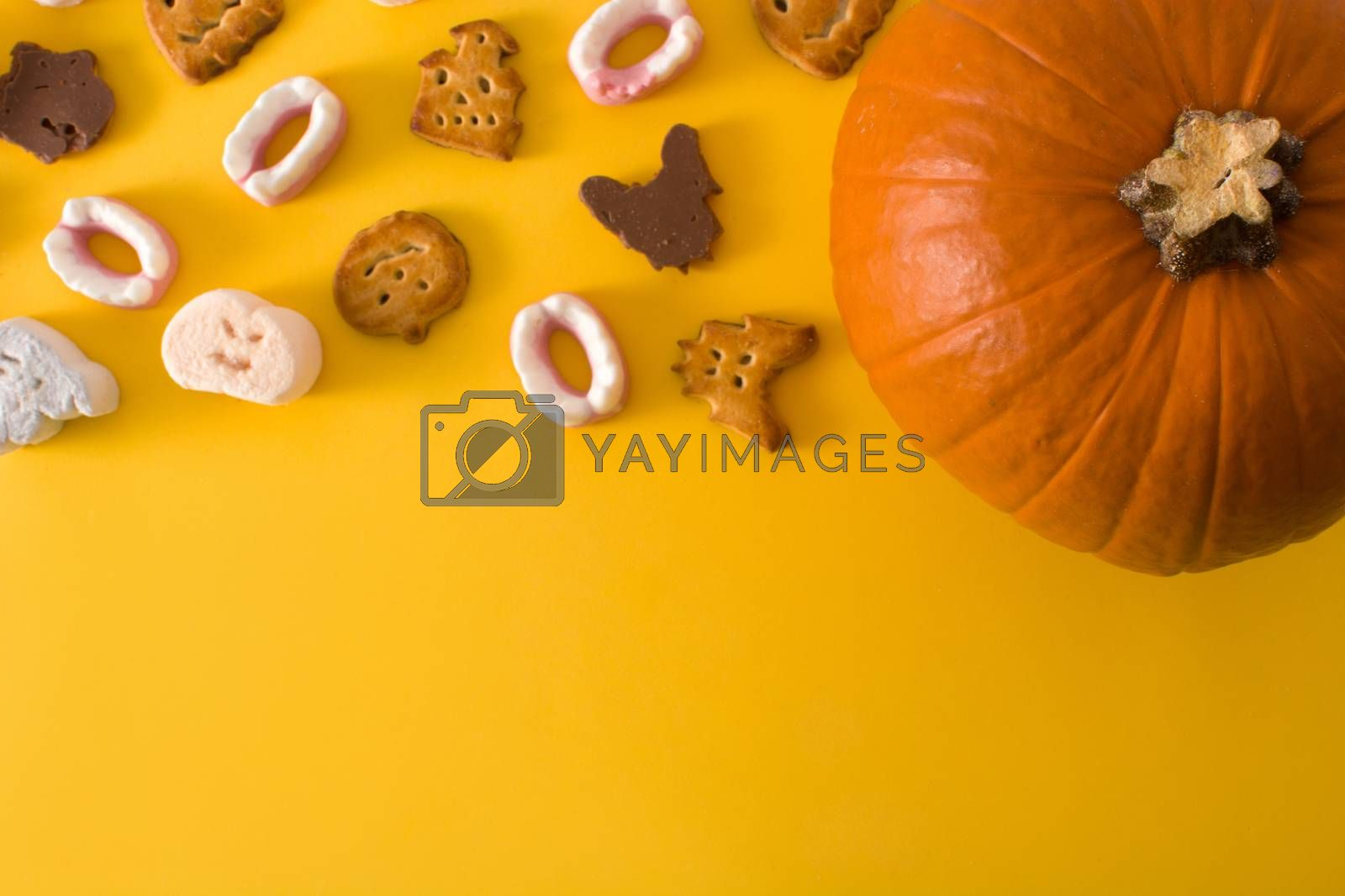 Halloween cookies and Halloween pumpkin on yellow background.