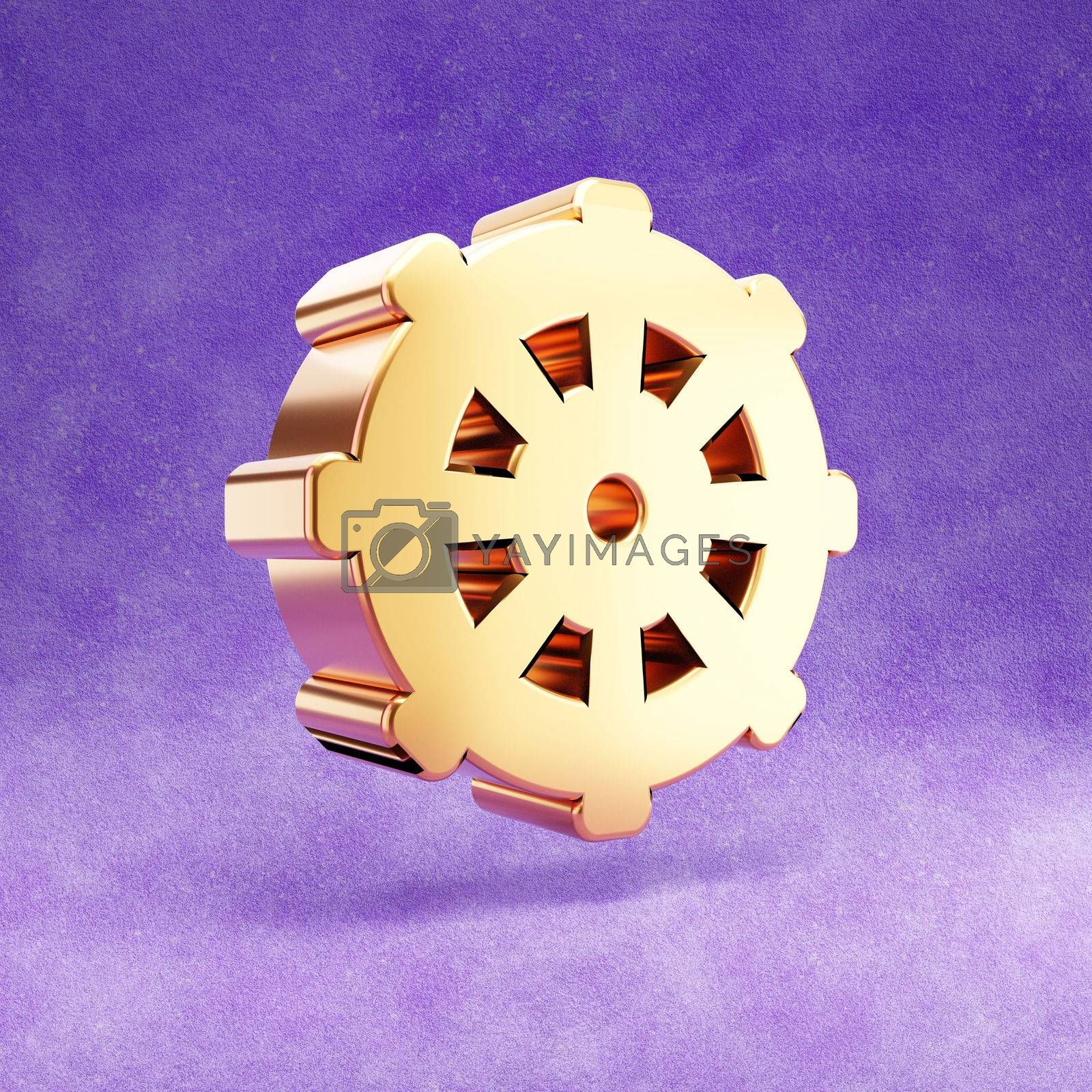 Dharmachakra icon. Gold glossy Dharmachakra symbol isolated on violet velvet background. Modern icon for website, social media, presentation, design template element. 3D render.