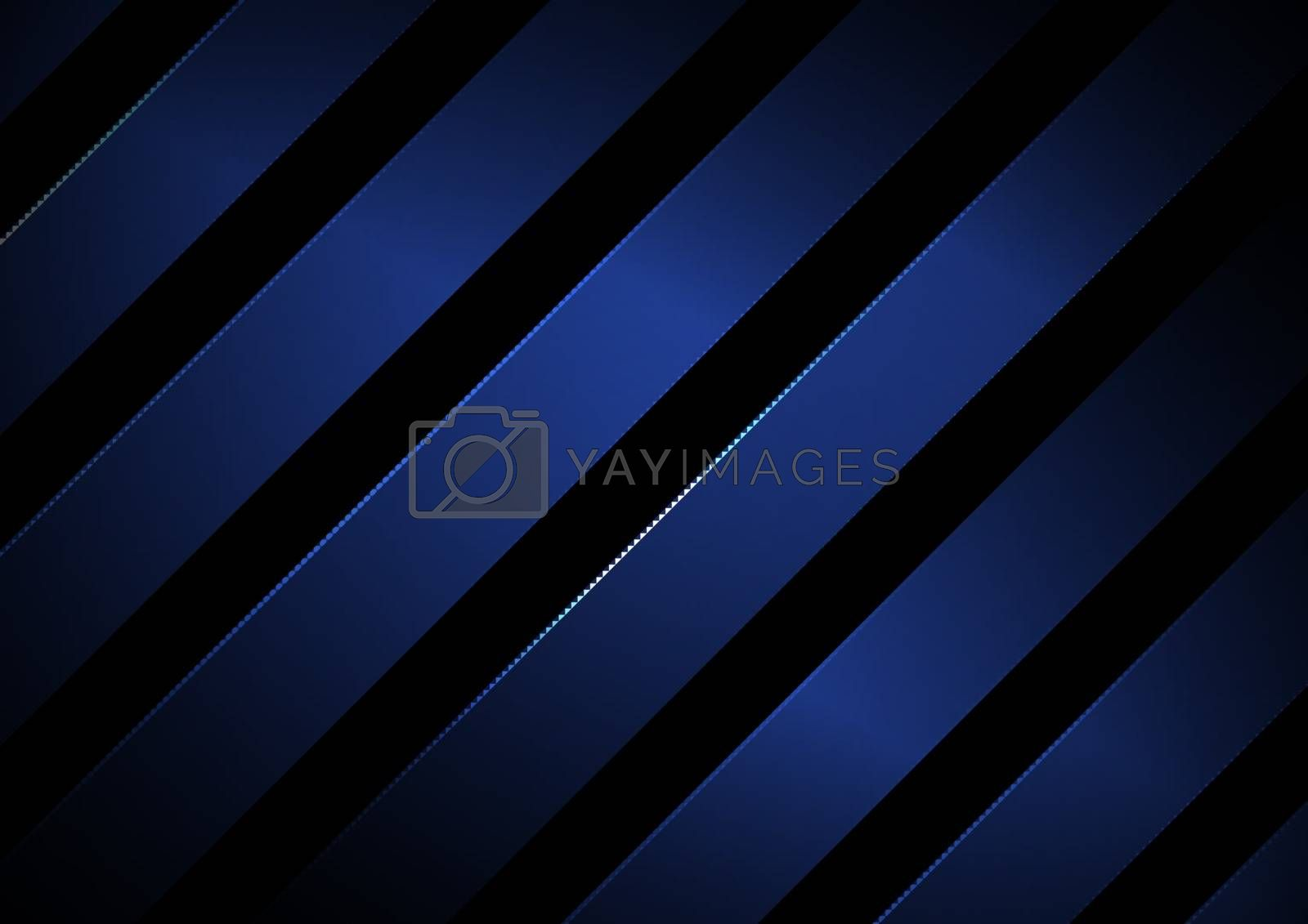 Abstract stripes geometric diagonal lines blue color with lighting on black background. Vector illustration