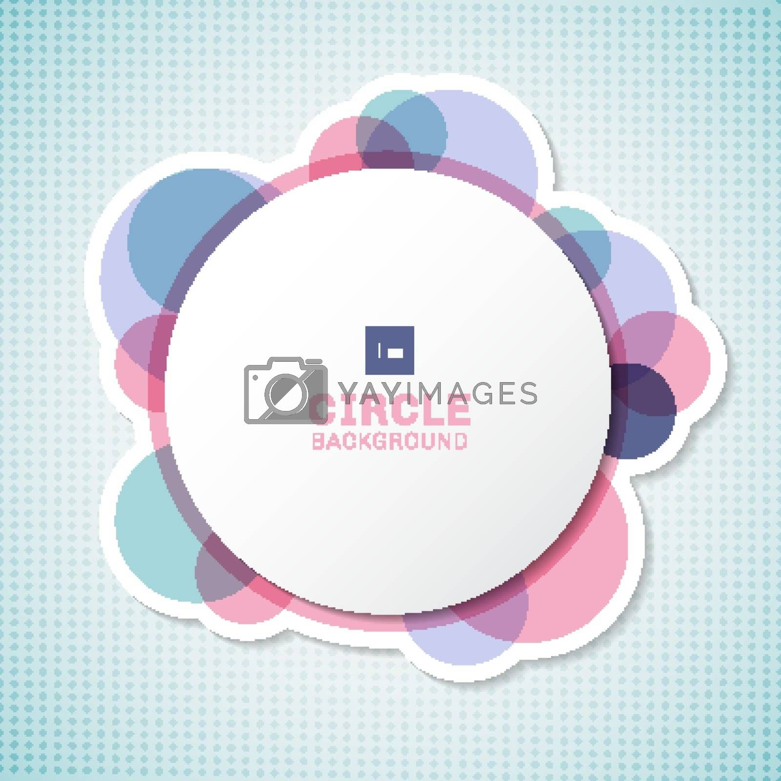 Banner white circle round label with pastel circles elements overlapping on blue background. Vector illustration