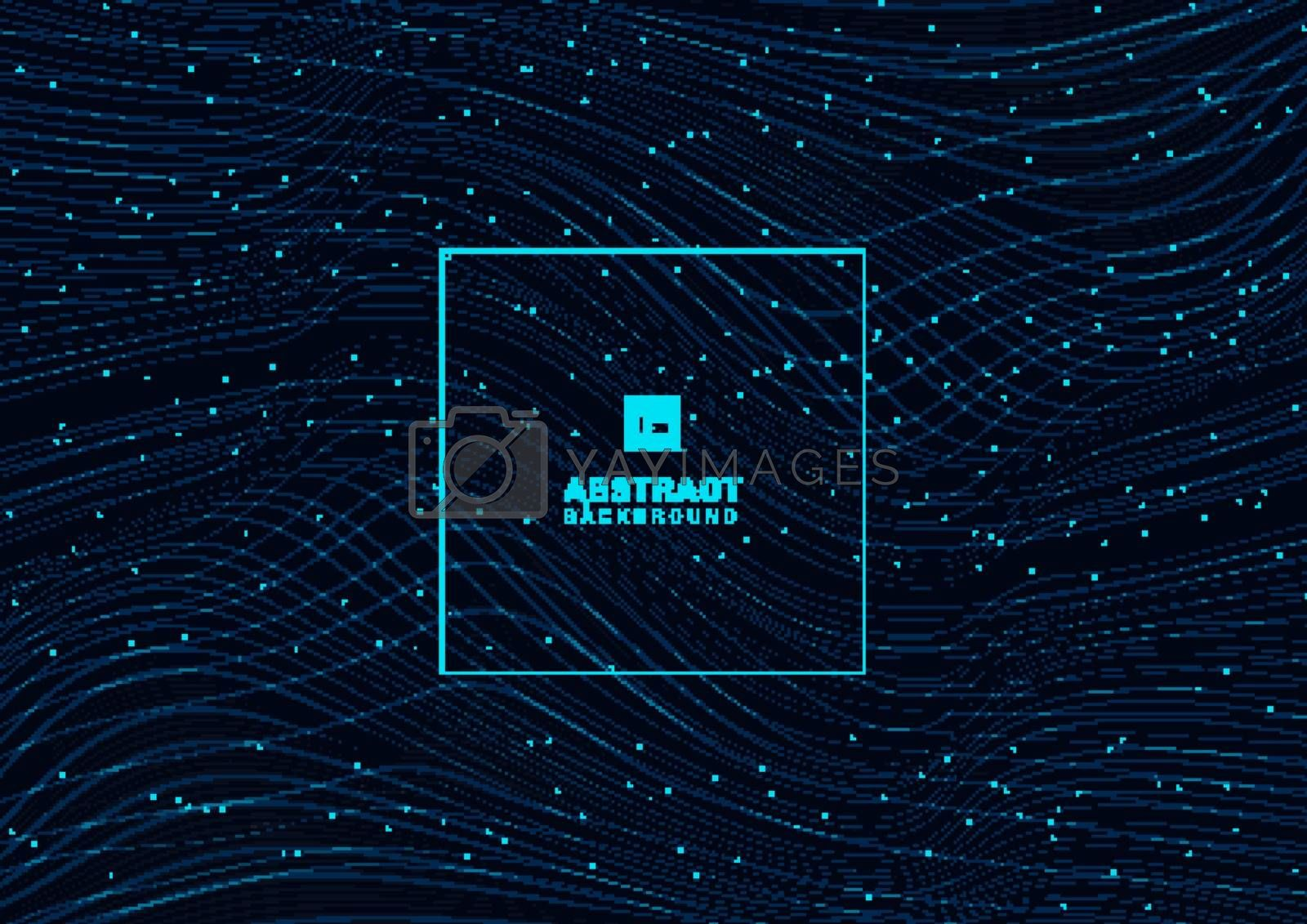 Abstract glowing blue wave lines pattern with particles elements on dark background. Technology futuristic concept. Vector illustration