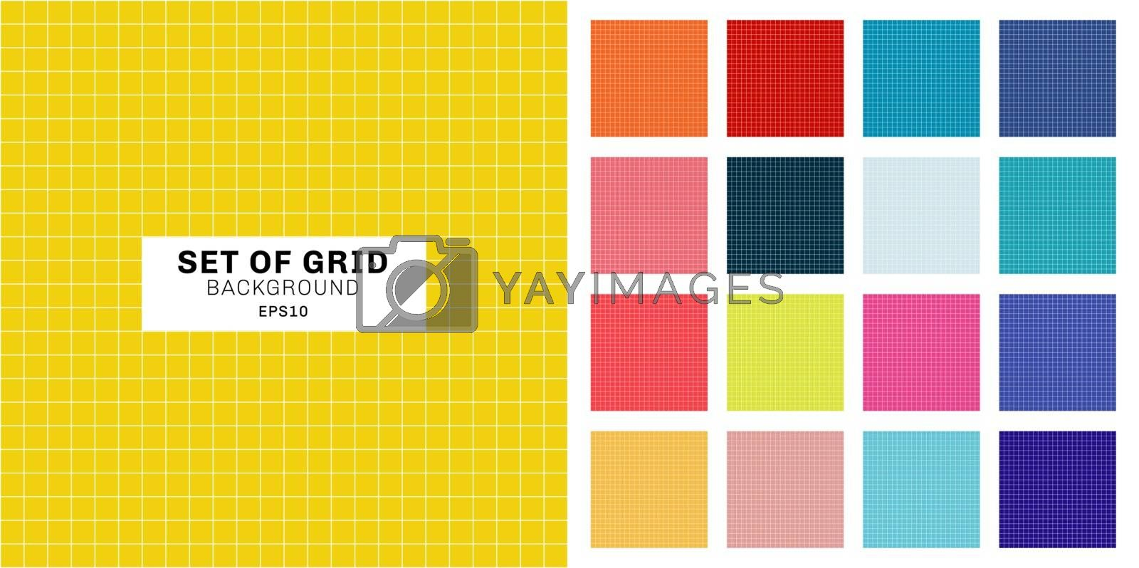 Set of white line grid striped geometric seamless pattern on multicolor background. Vector illustration
