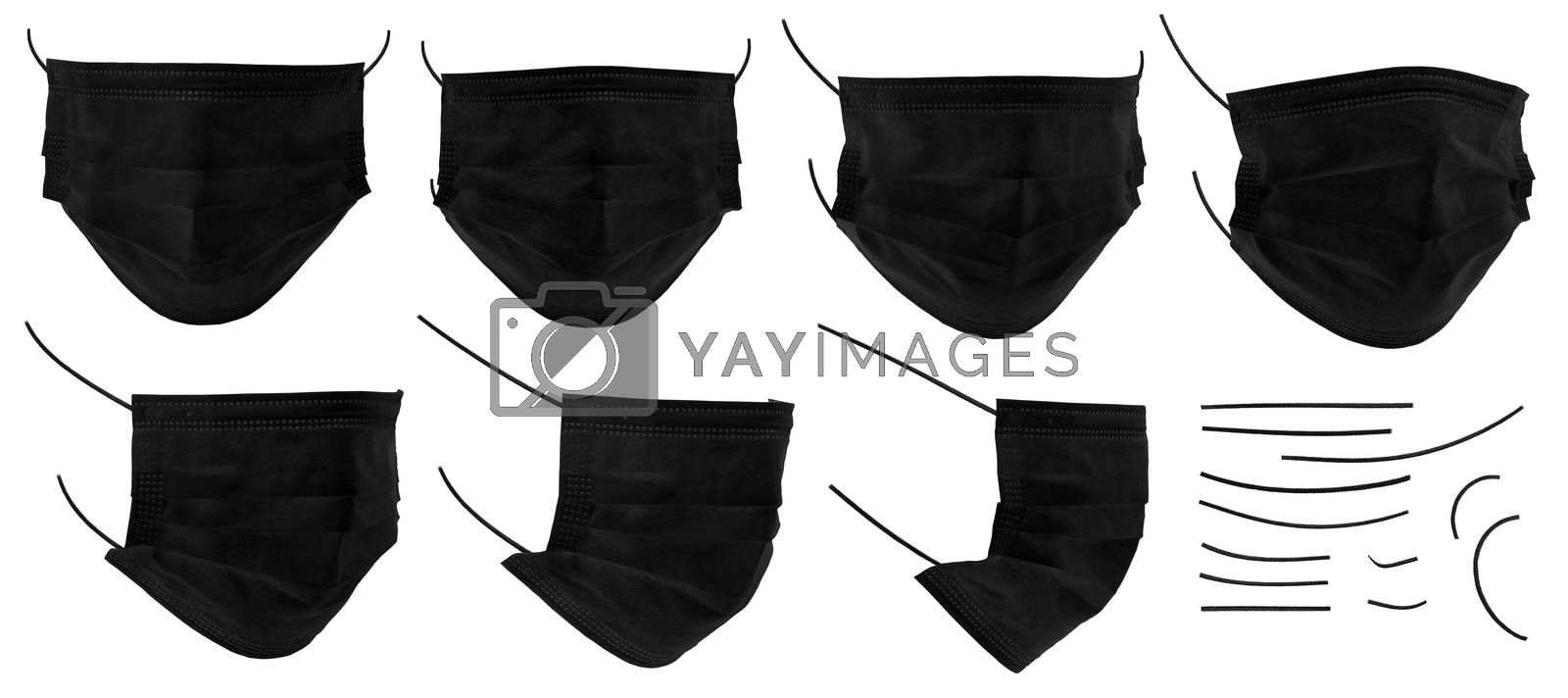 Set of medical mask or surgical ear loop mask isolated on white background with clipping path. Black color medical mask isolated. Surgical mask, template for design, high resolution, close up.