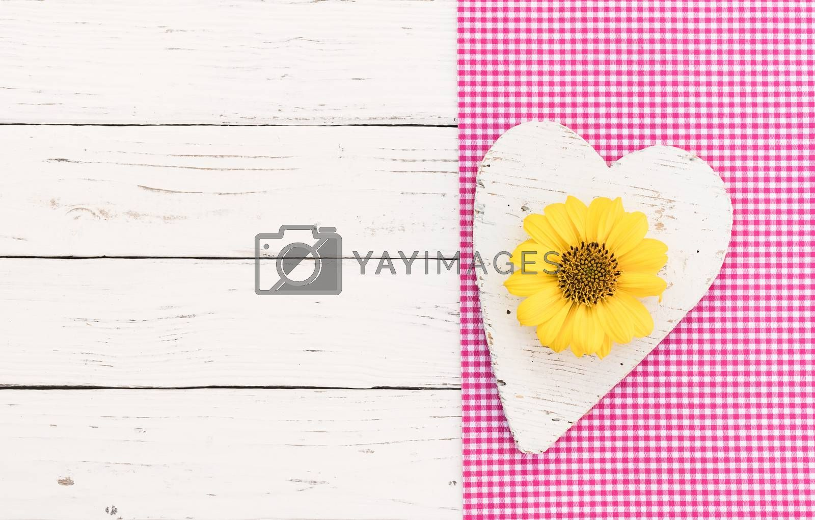 White wooden heart with yellow blossom on pink fabric and white wood background