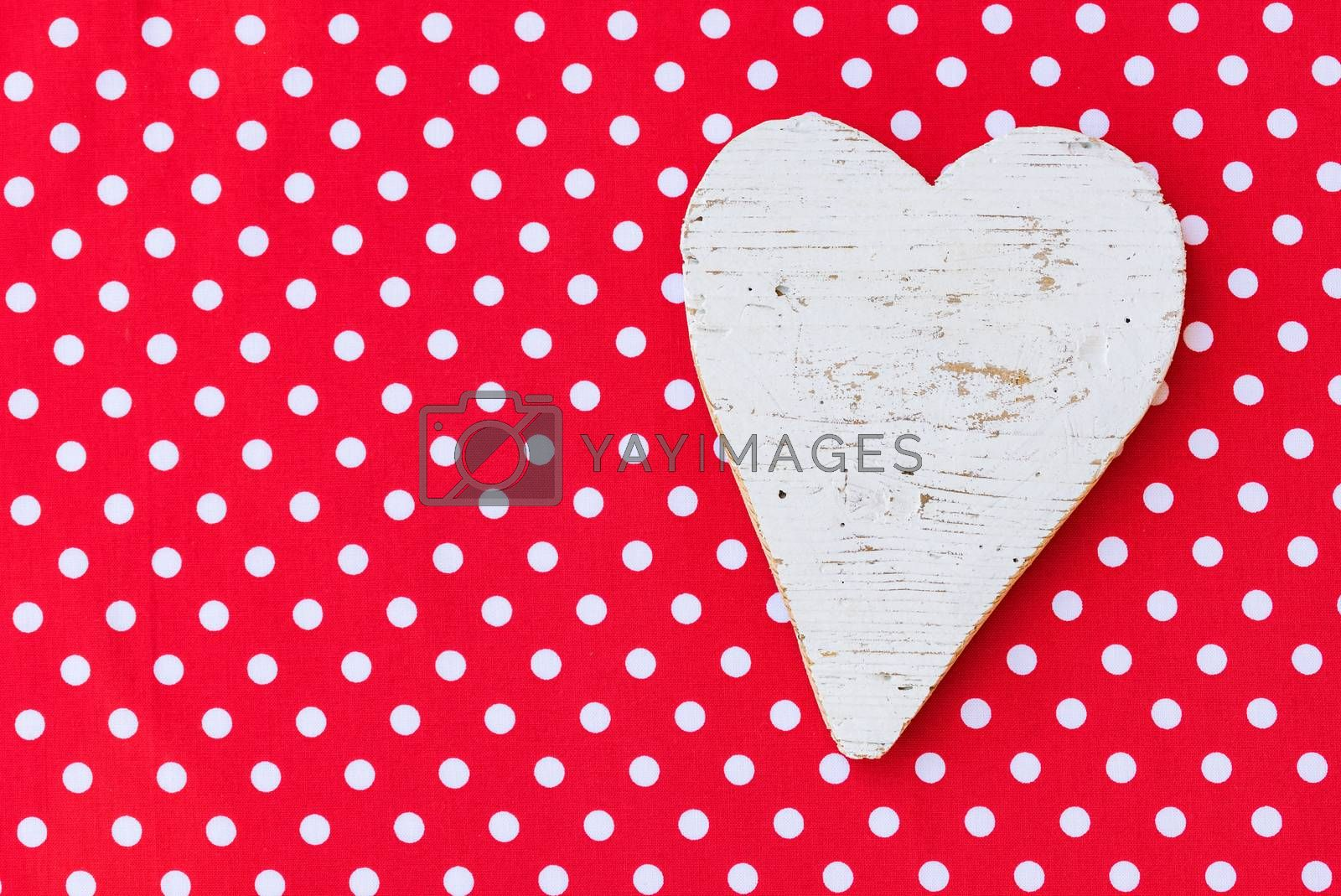 Background for Valentine card with romantic white heart and copy space