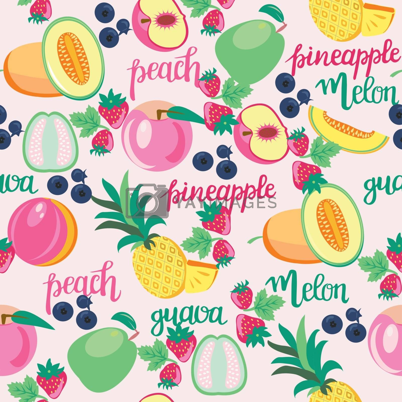 Seamless pattern with fruits peach, guava, melon, pineapple and hand drawn lettering, Healthy food fruit  for wallpaper, background or greeting cards, fabric.