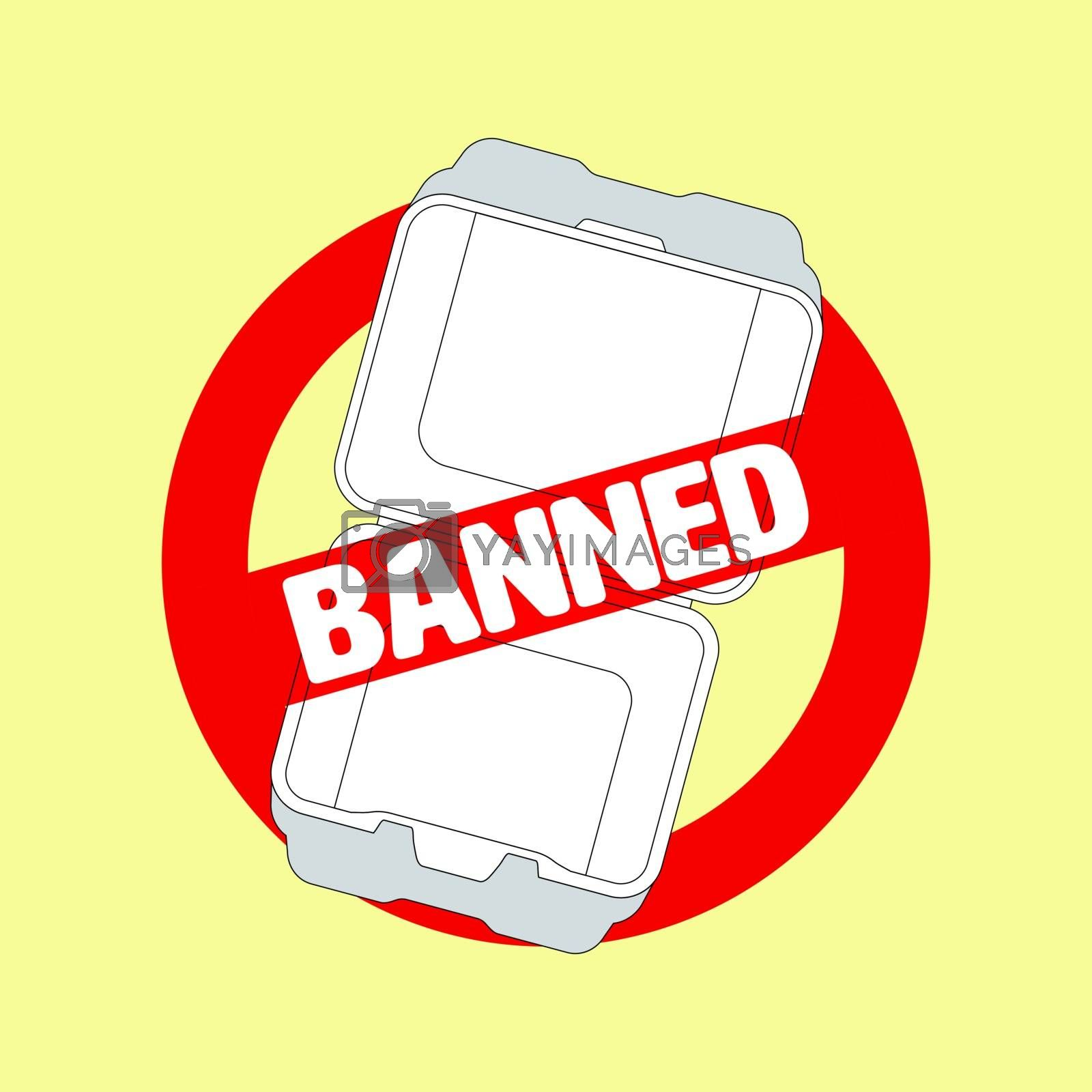Ban symbol and outline flat icon of styrofoam container. Ban styrofoam concept. Vector illustration.