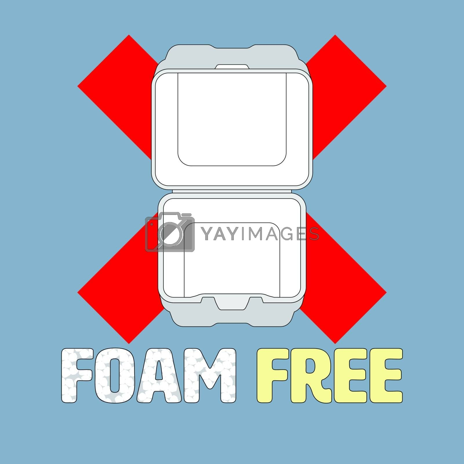 Ban cross symbol and outline flat icon of styrofoam container with foam beads typographic design. Foam free concept. Vector illustration.