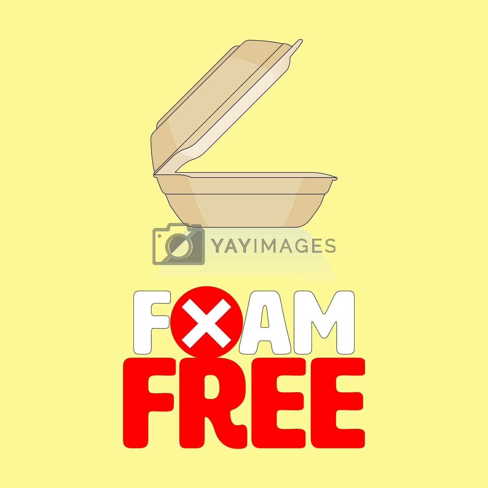 Outline flat icon of styrofoam container with ban cross symbol gimmick typographic design. Foam free concept. Vector illustration.