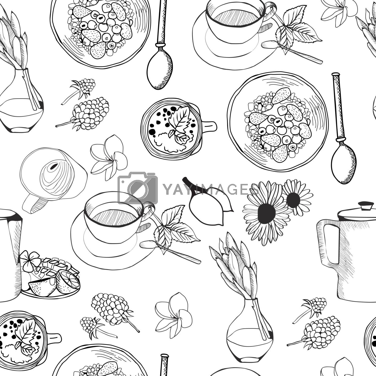 Seamless pattern of doodles food elements on white background.  by Margolana