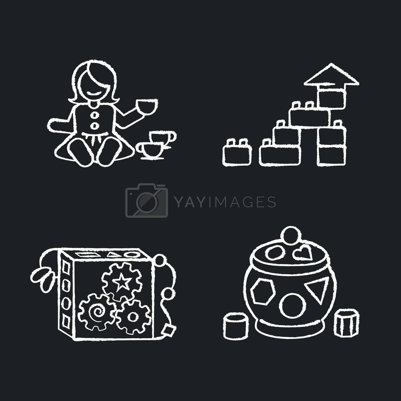 Sensory toys for toddlers chalk white icons set on black background. Baby doll with tea set. Educational toys for children early development. Isolated vector chalkboard illustrations