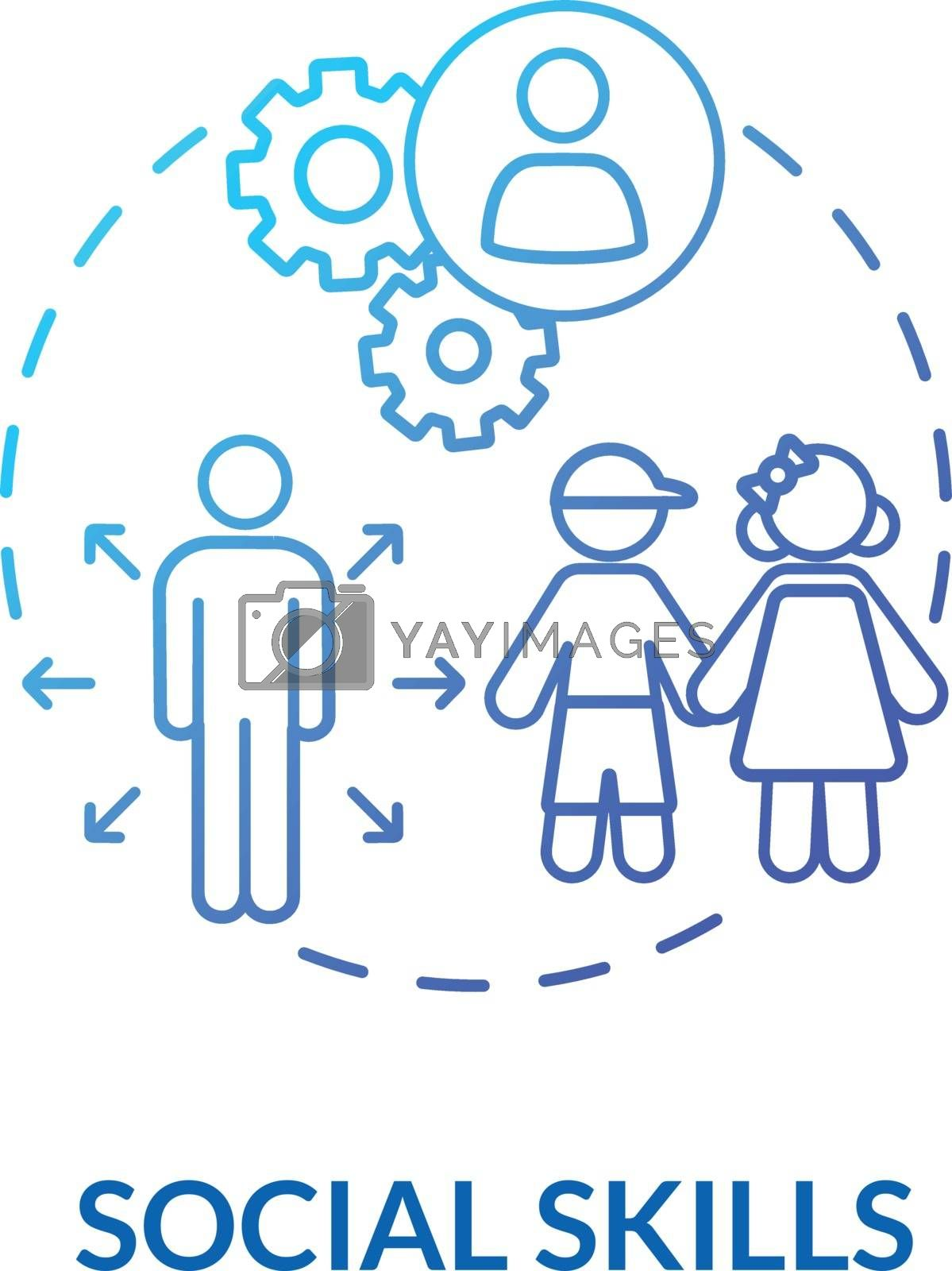 Toddlers social skills concept icon. Early childhood education. Kids interactions. Kindergarten. Interpersonal skills idea thin line illustration. Vector isolated outline RGB color drawing