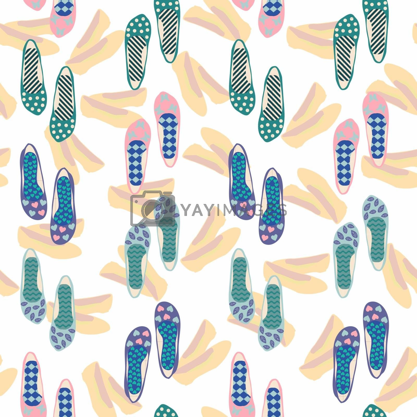 Seamless vector pattern of hand drawn shoes Flat design Summer. Background of women beautiful fashionable ballet shoes.