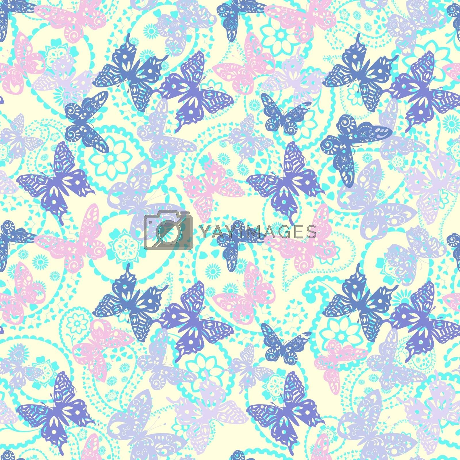 Vector decorative butterflies and paisley pattern. Oriental background can be used for wallpaper, pattern fills,surface textures.