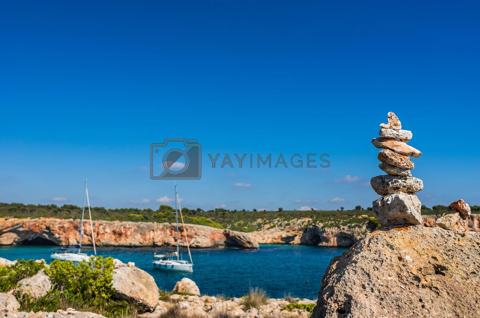 Stone stack at the coast of Majorca island, Spain Mediterranean Sea