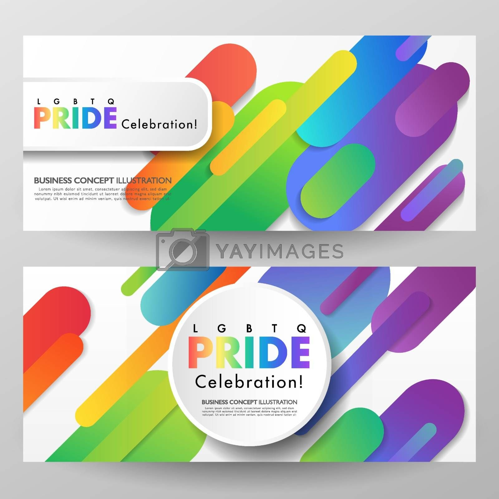 Colorful LGBTQ pride celebration banner set of two. Abstract rainbow geometric round objects on white background. Vector illustration template.