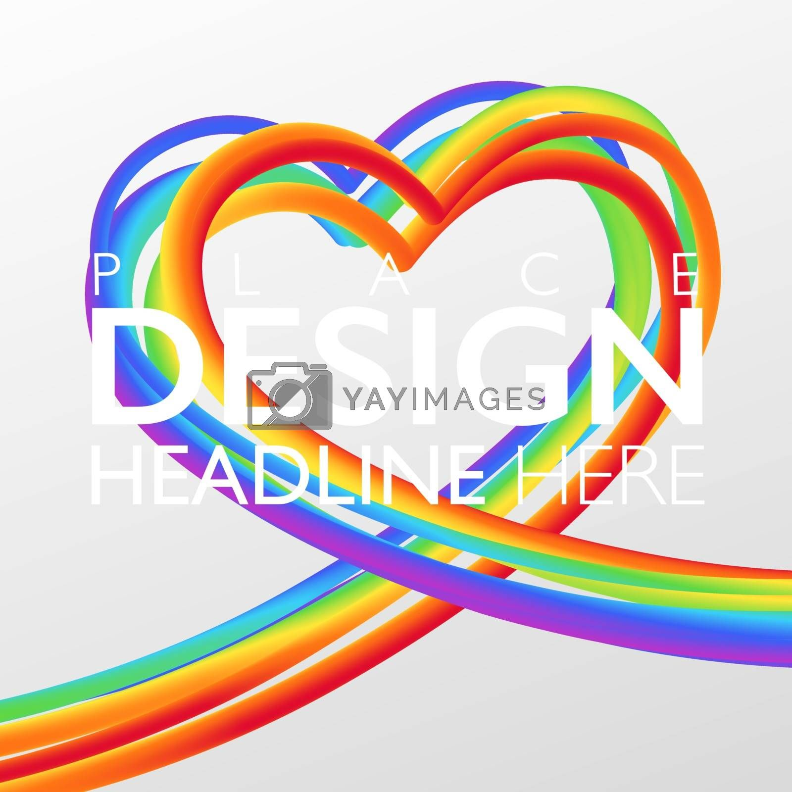 Colorful rainbow heart shape background. Abstract 3D striped objects on white background with copy space. Vector illustration template.