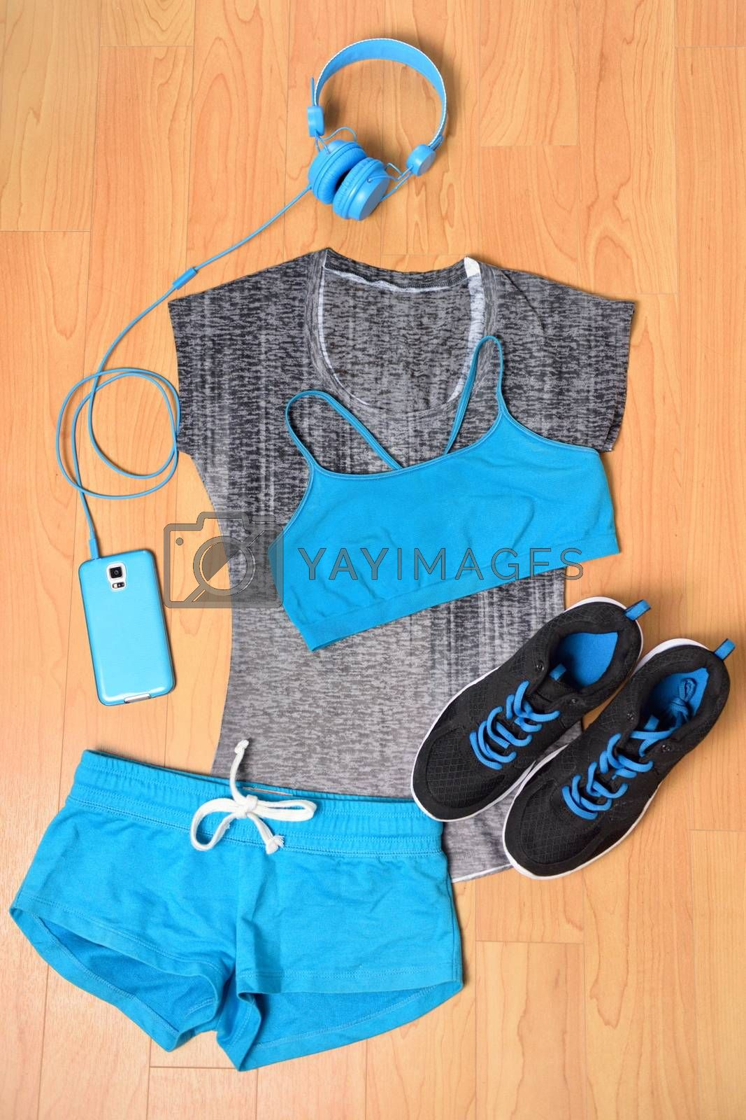 Gym outfit - workout clothing and smartphone by Maridav