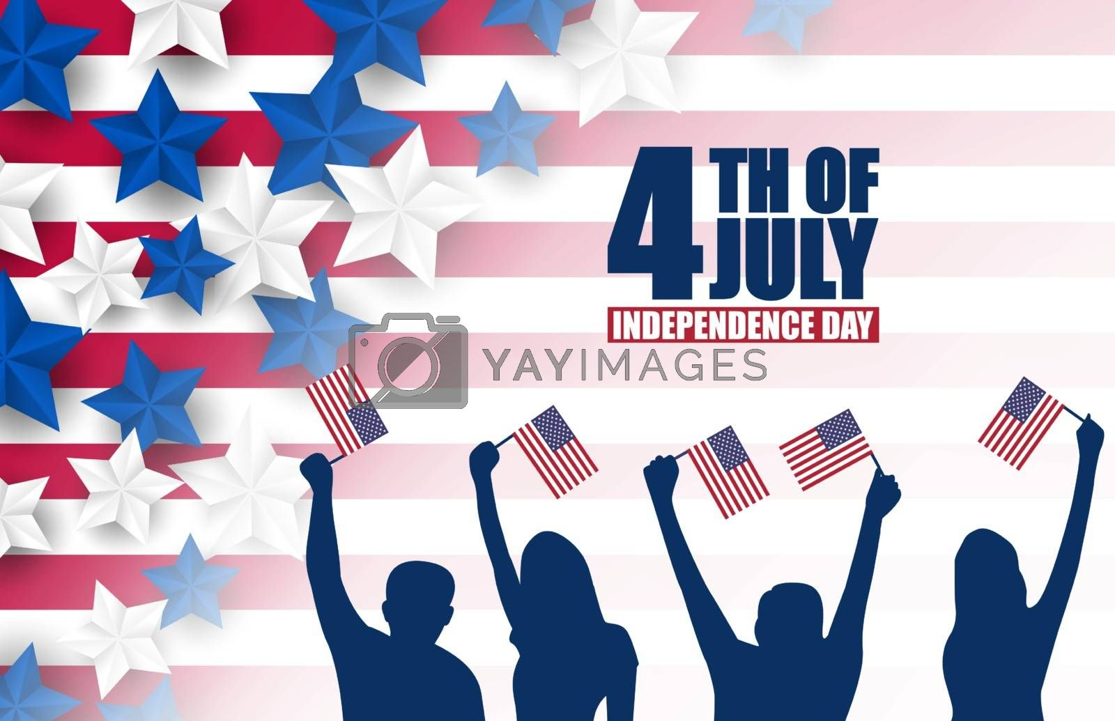 Royalty free image of 4th of July banner or poster in United States of America flag co by INDz