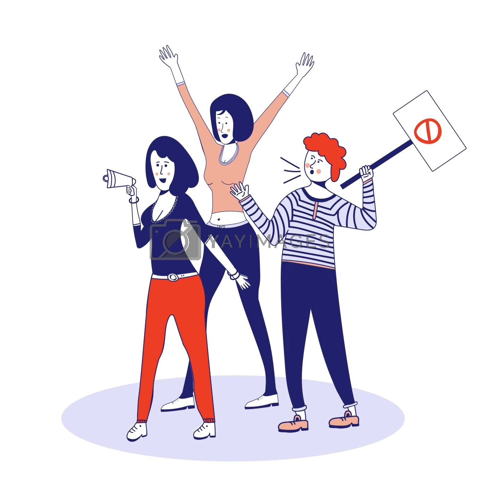 People who picket protest for workers rights. Social activism. Vector illustration, blue line, in cute cartoon style