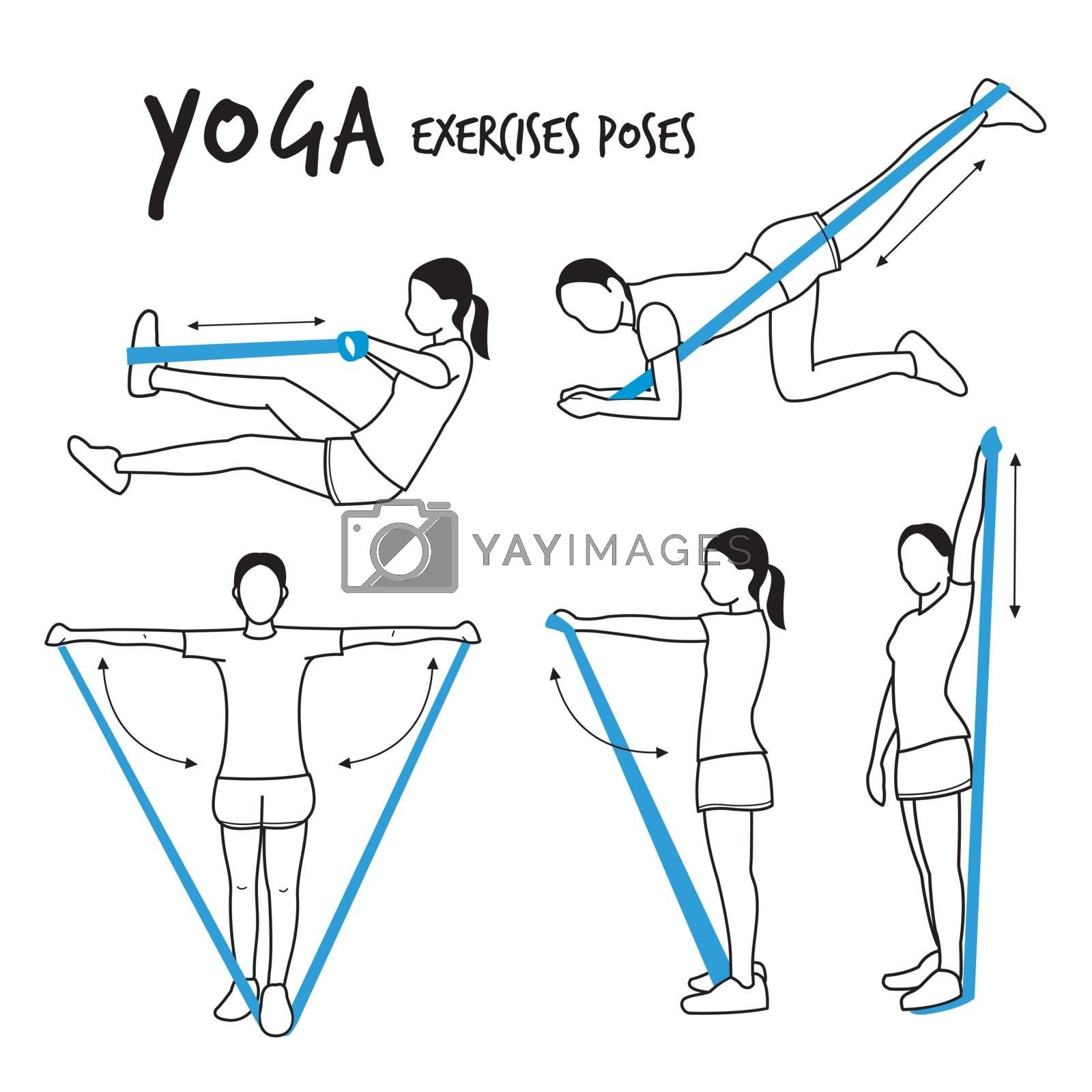 Slim Girl Practicing Yoga Stretching Exercises Fitness Workout Poses Cartoon Vector Illustration