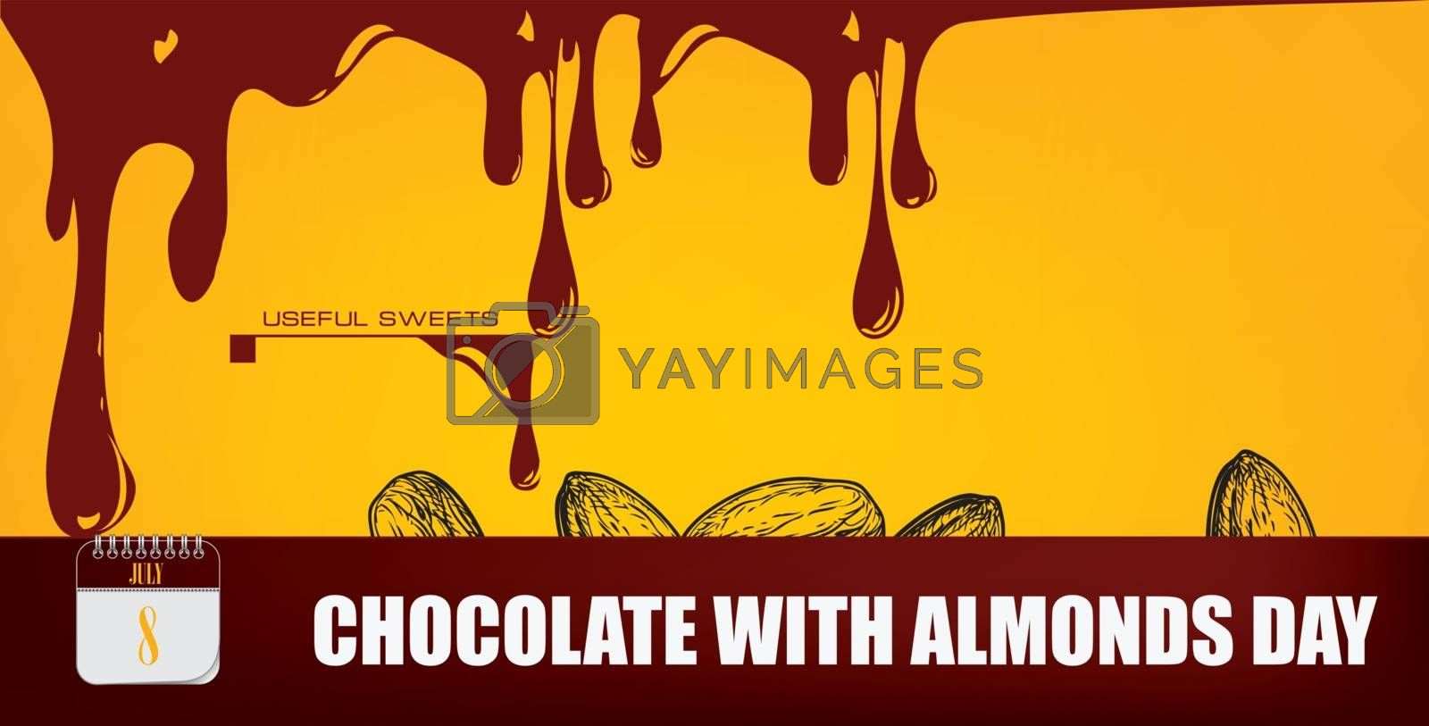 Post card for event june day Chocolate with Almonds Day