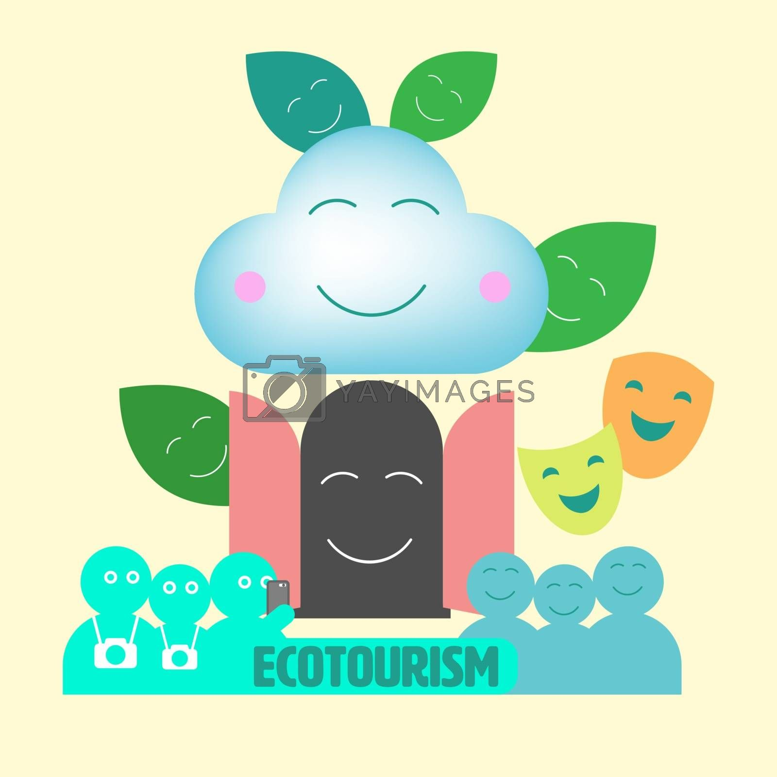 Composition of environmental and touristic outline flat icons. Ecotourism concept. Vector illustration.
