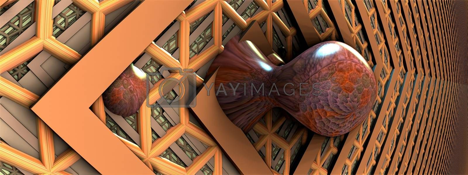 3D illustration of colorful virtual scenery for creative design, art and entertainment