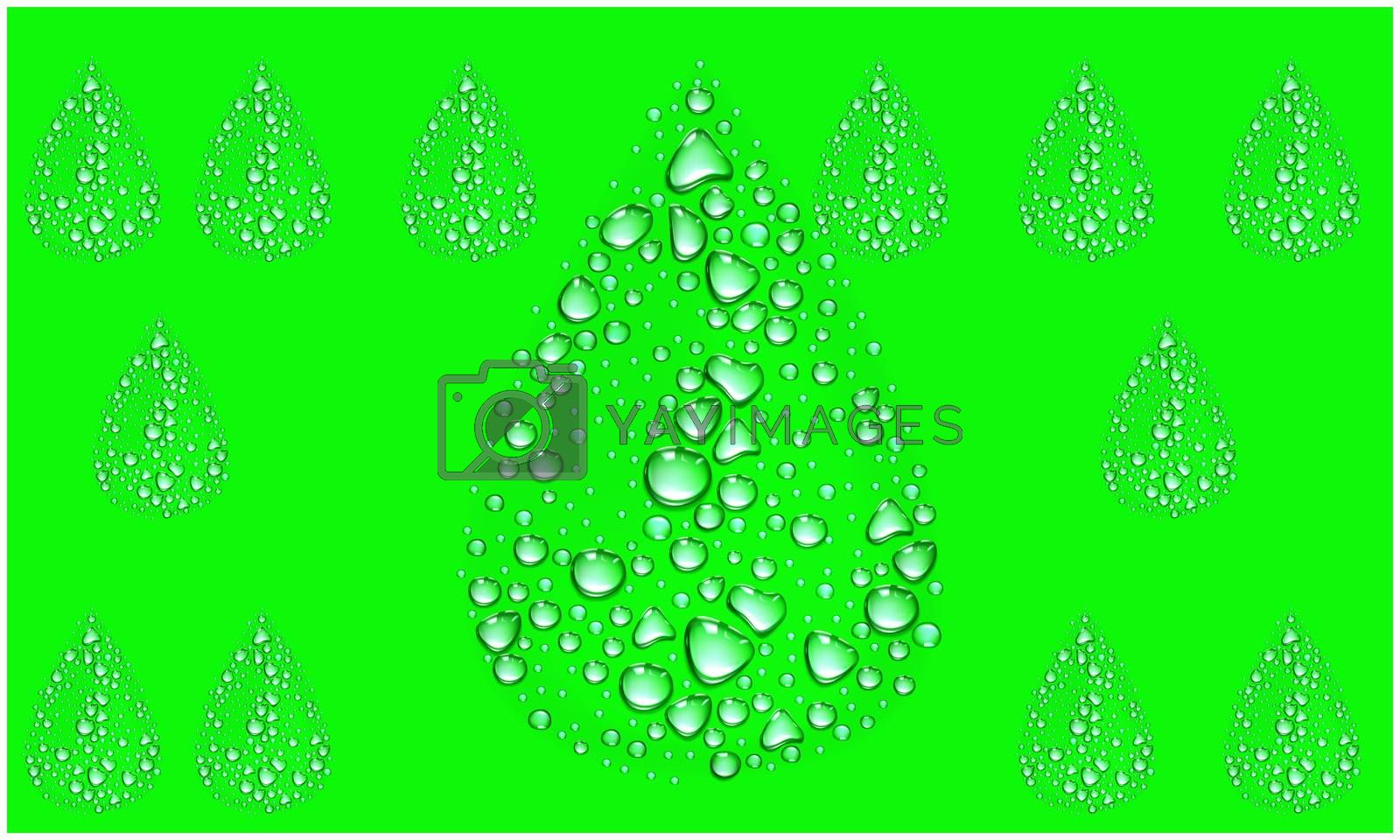 Several Water Droplets on abstract green background