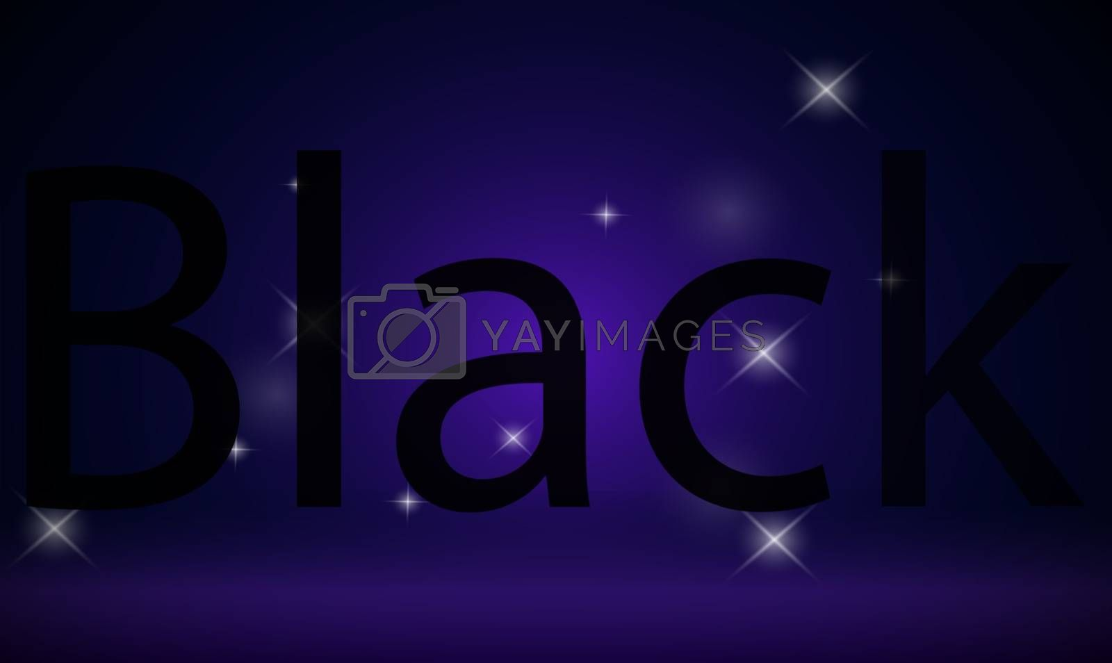 text black written on abstract stars background