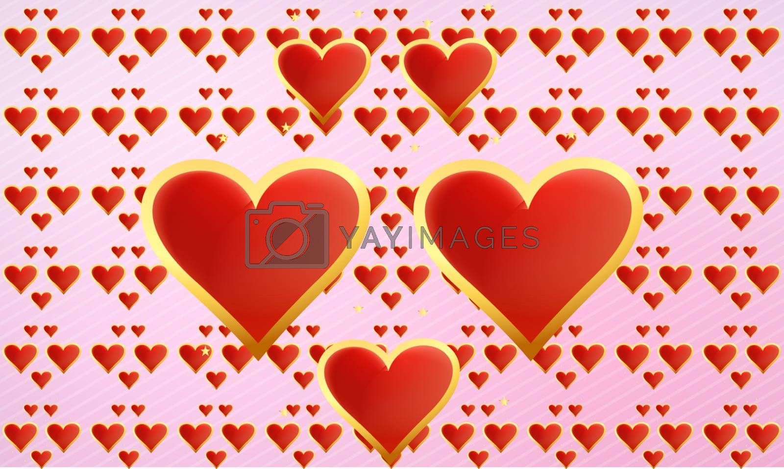 Golden heart on abstract valentine background
