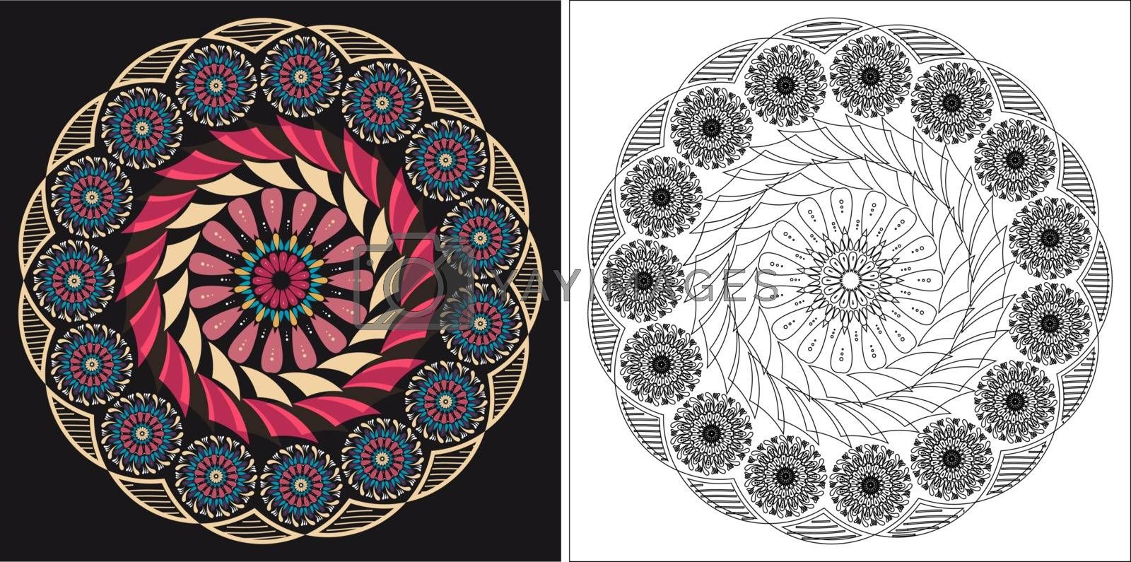 Coloring book template for adults and kids. Cute mandala cartoon vector flower