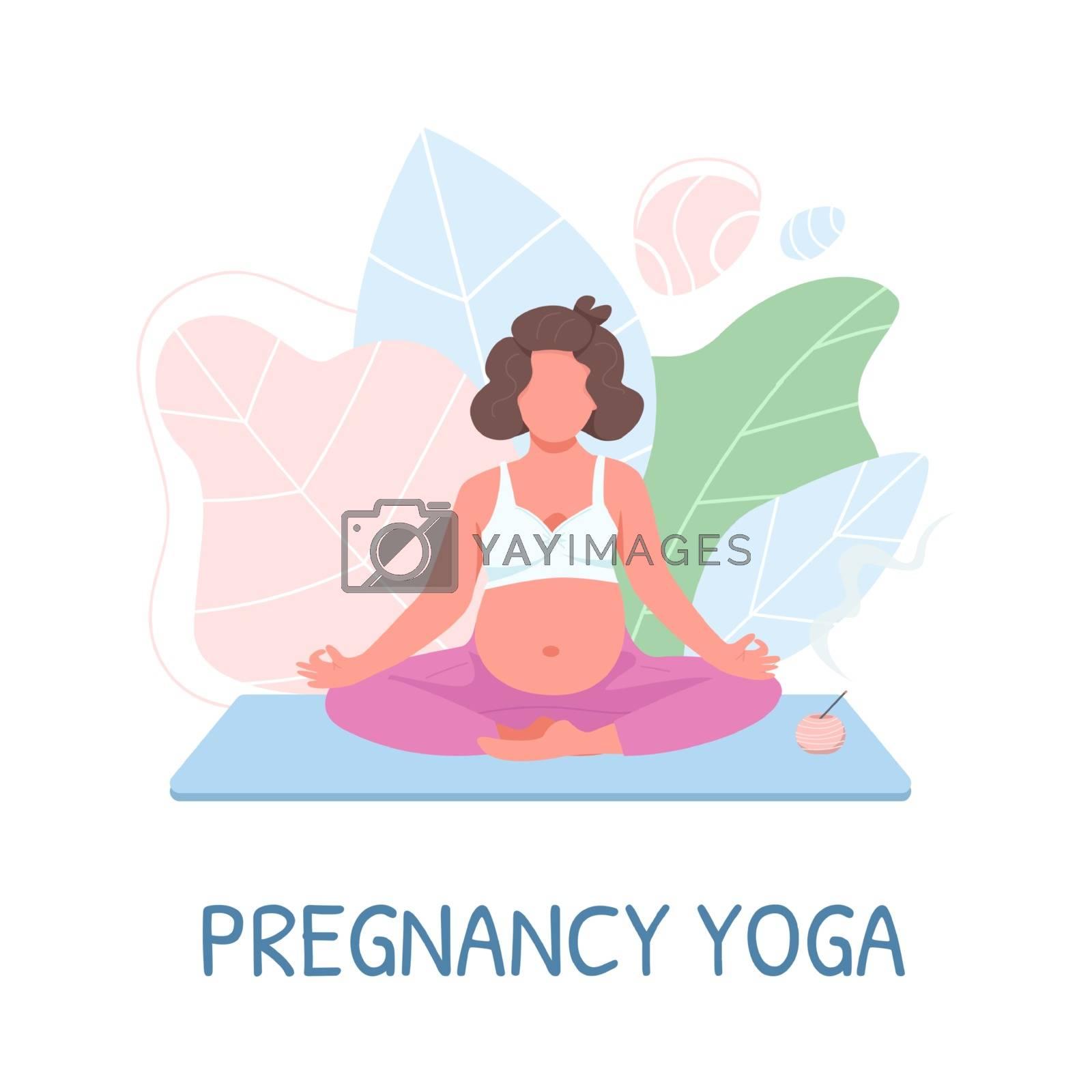 Prenatal meditation flat color vector faceless character by ntl