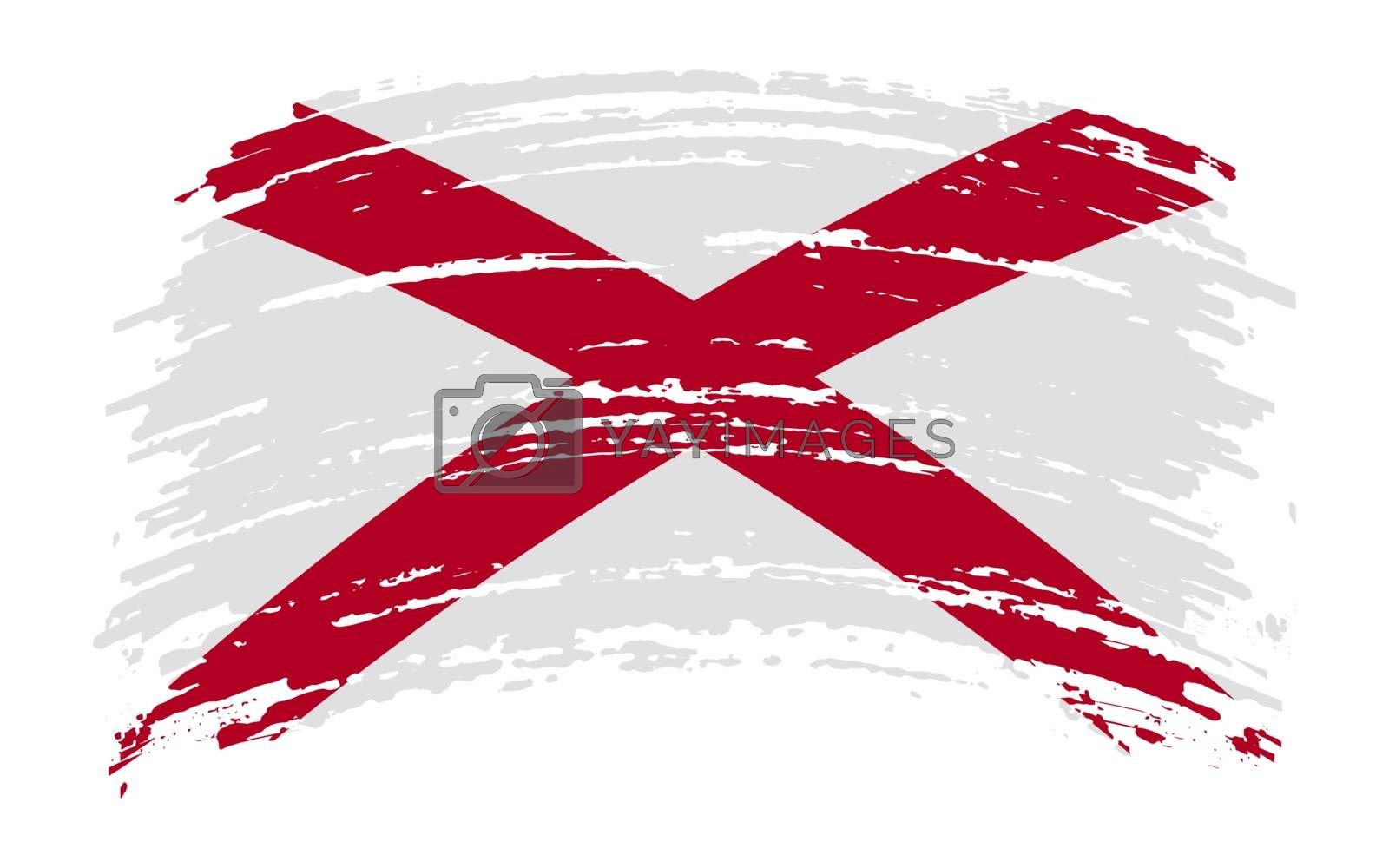 Alabama US flag in grunge brush stroke, vector image