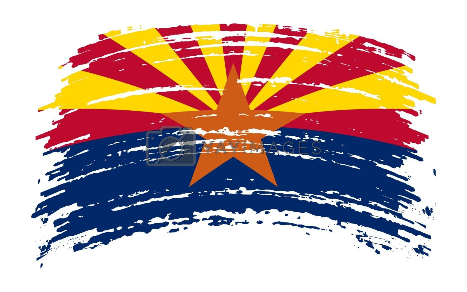 Arizona US flag in grunge brush stroke, vector image